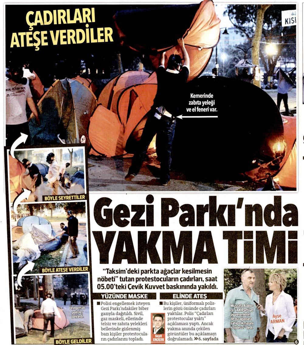 Gezi Parkı Gazete Manşetleri