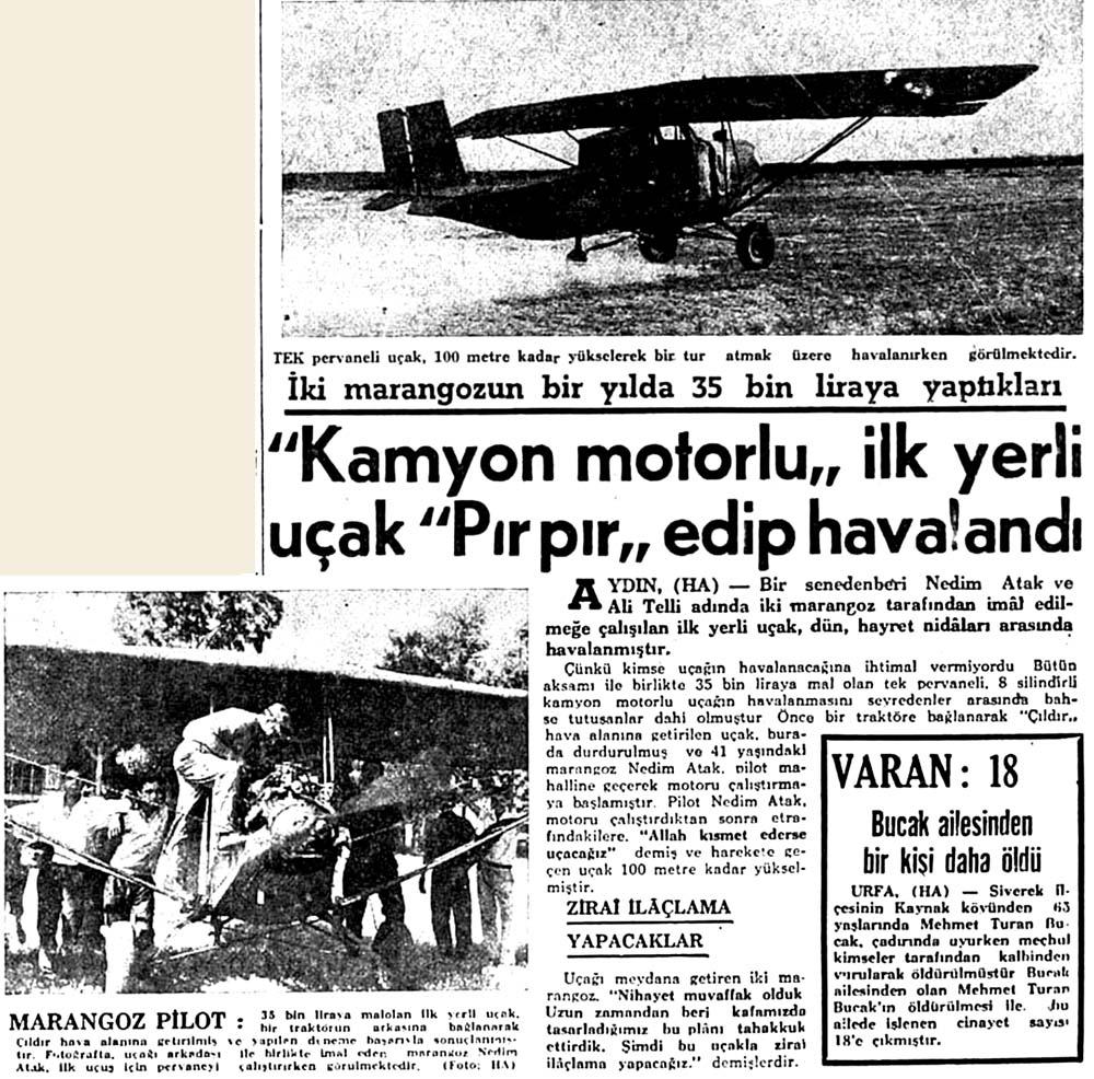 ''Kamyon motorlu'' ilk yerli uçak''Pırpır''