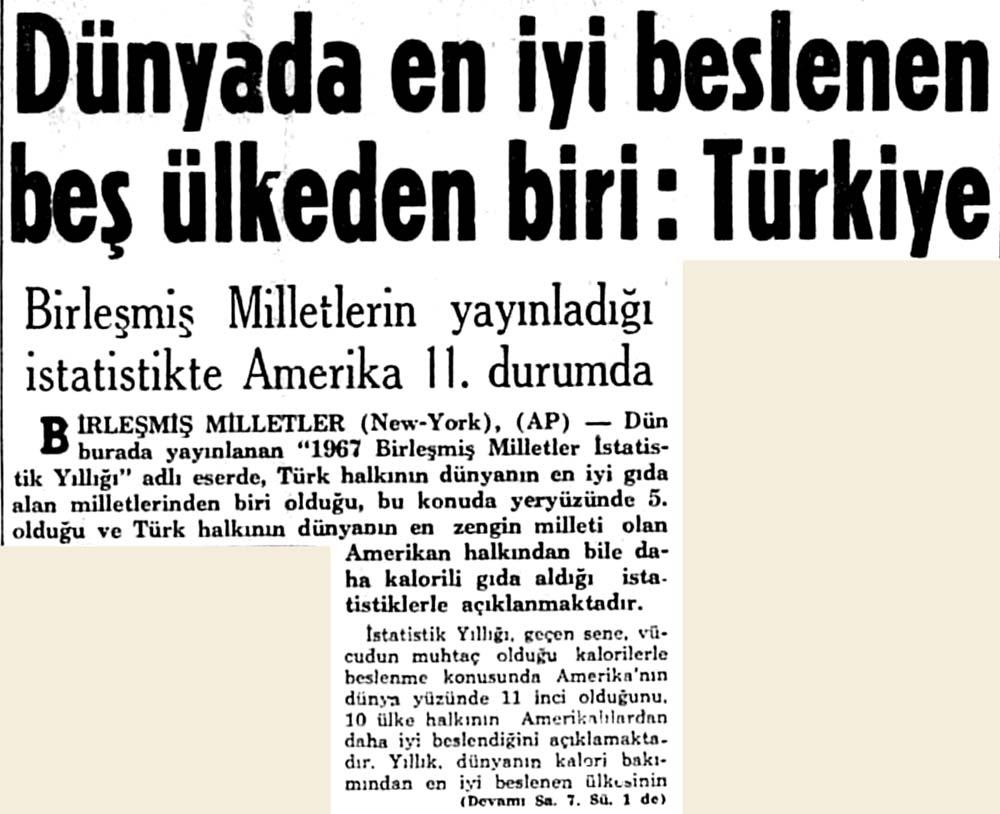 Dünyada en iyi beslenen beş ülkeden biri: Türkiye
