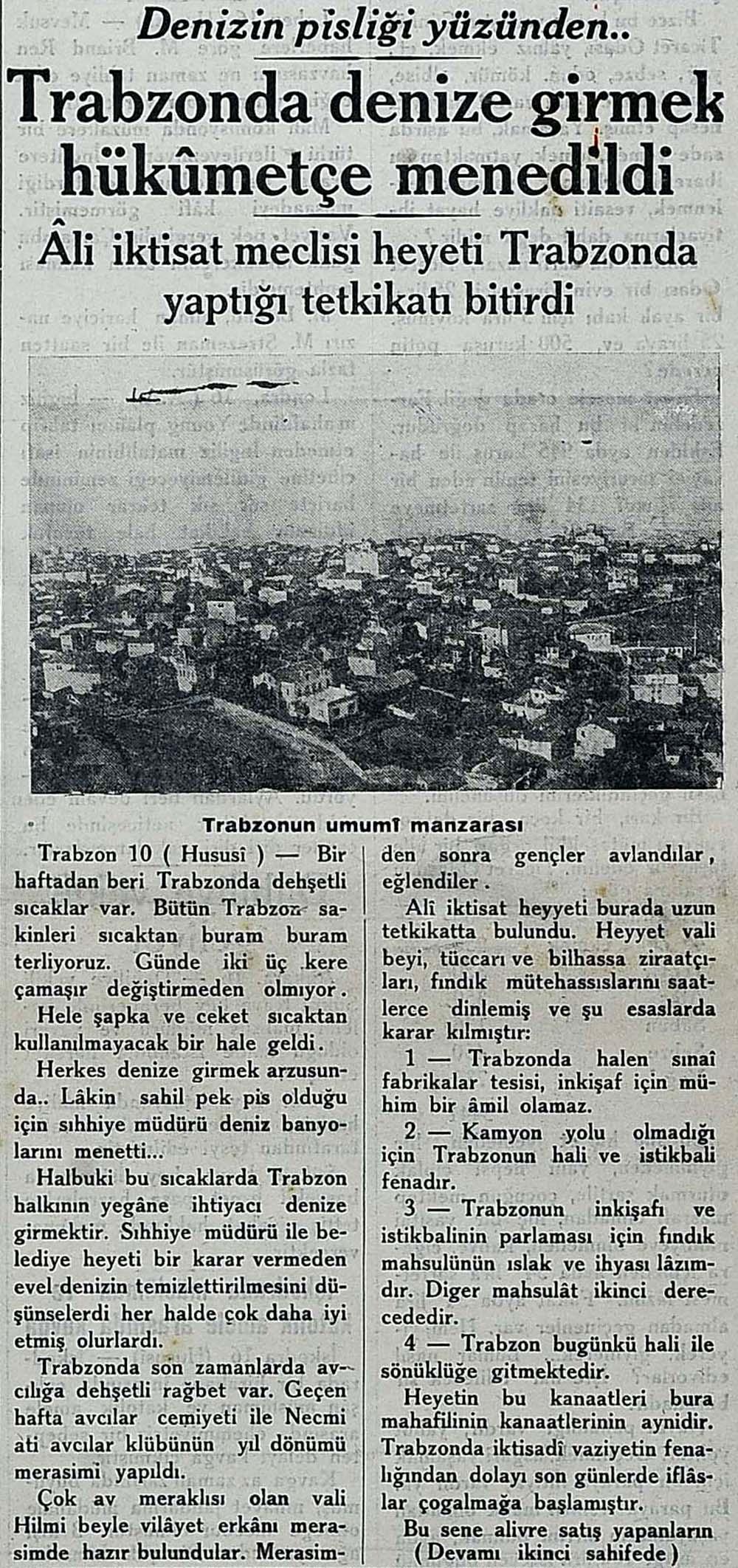Trabzonda denize girmek hükumetçe menedildi