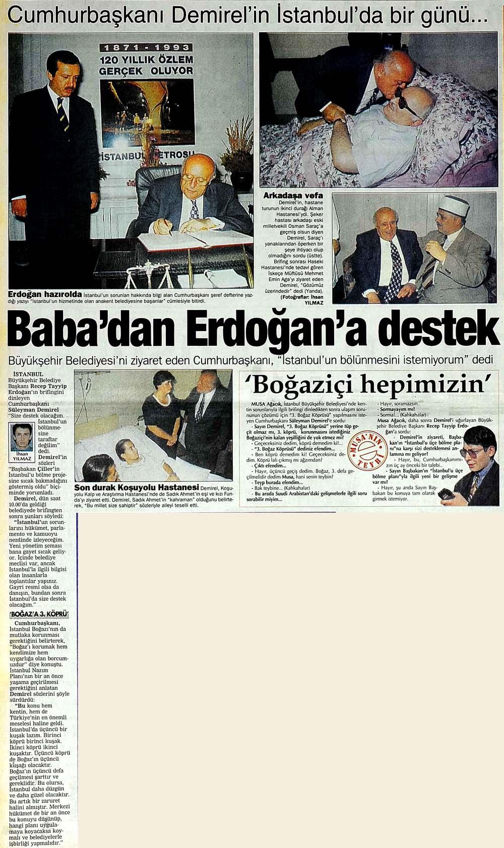 Baba'dan Erdoğan'a destek