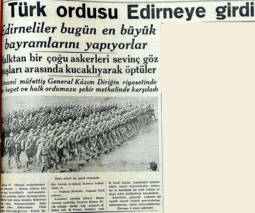 Türk ordusu Edirneye girdi