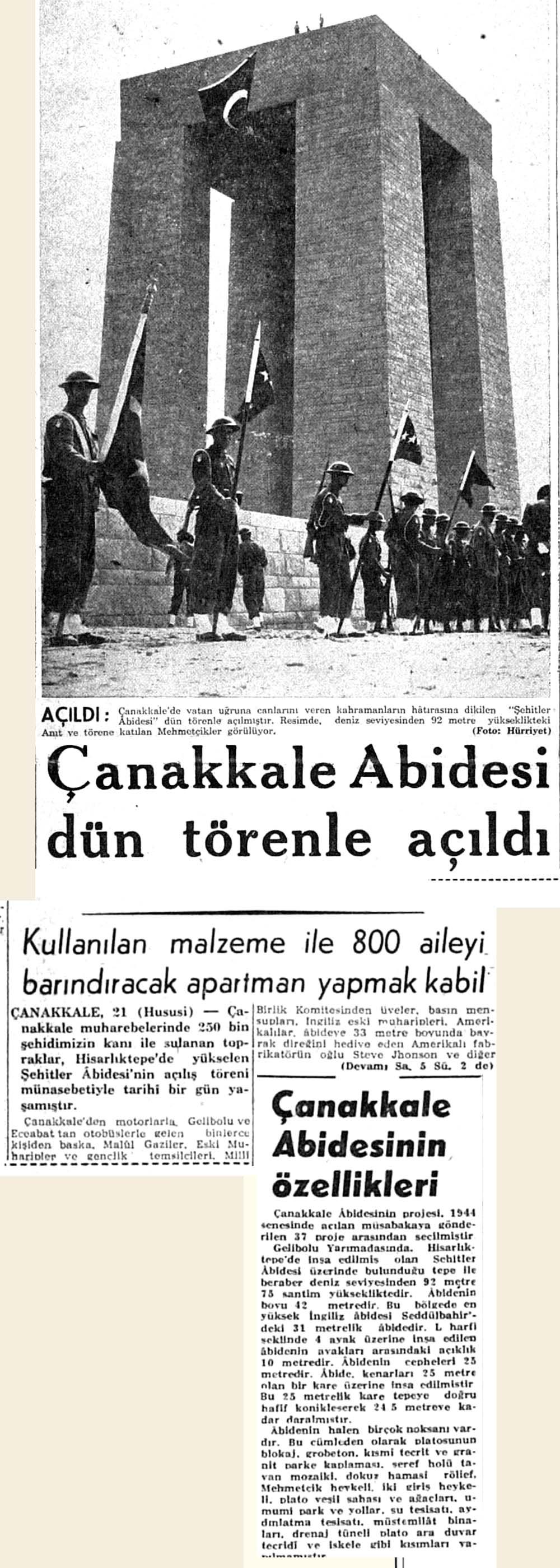 Çanakkale Abidesi dün törenle açıldı
