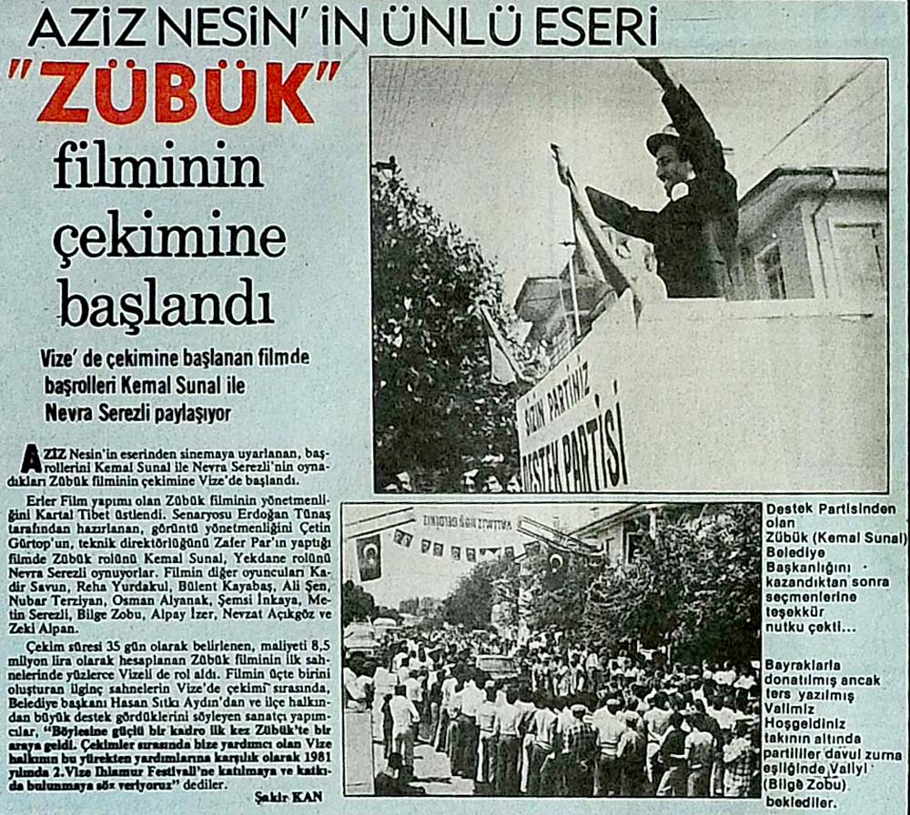 Aziz Nesin'in ünlü eseri ''Zübük'' filminin çekimine başlandı