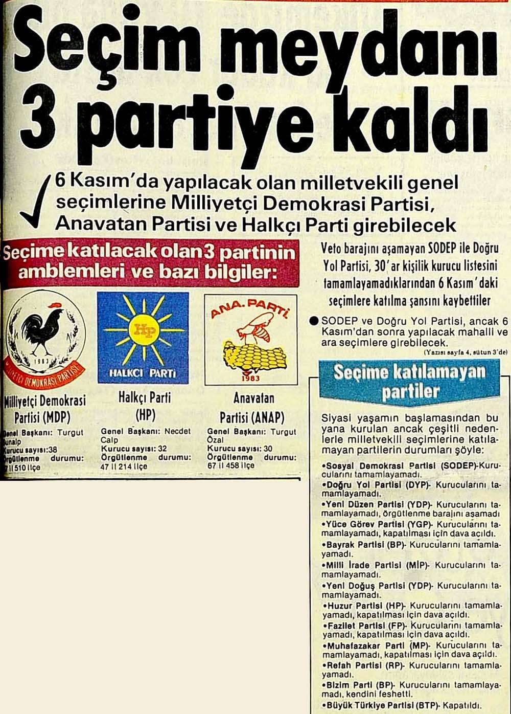 Seçim maydanı 3 partiye kaldı