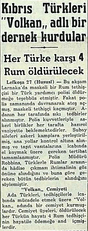 Kıbrıs Türkleri ''Volkan''adlı bir dernek kurdular