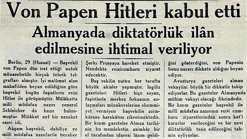 Von Papen Hitleri kabul etti