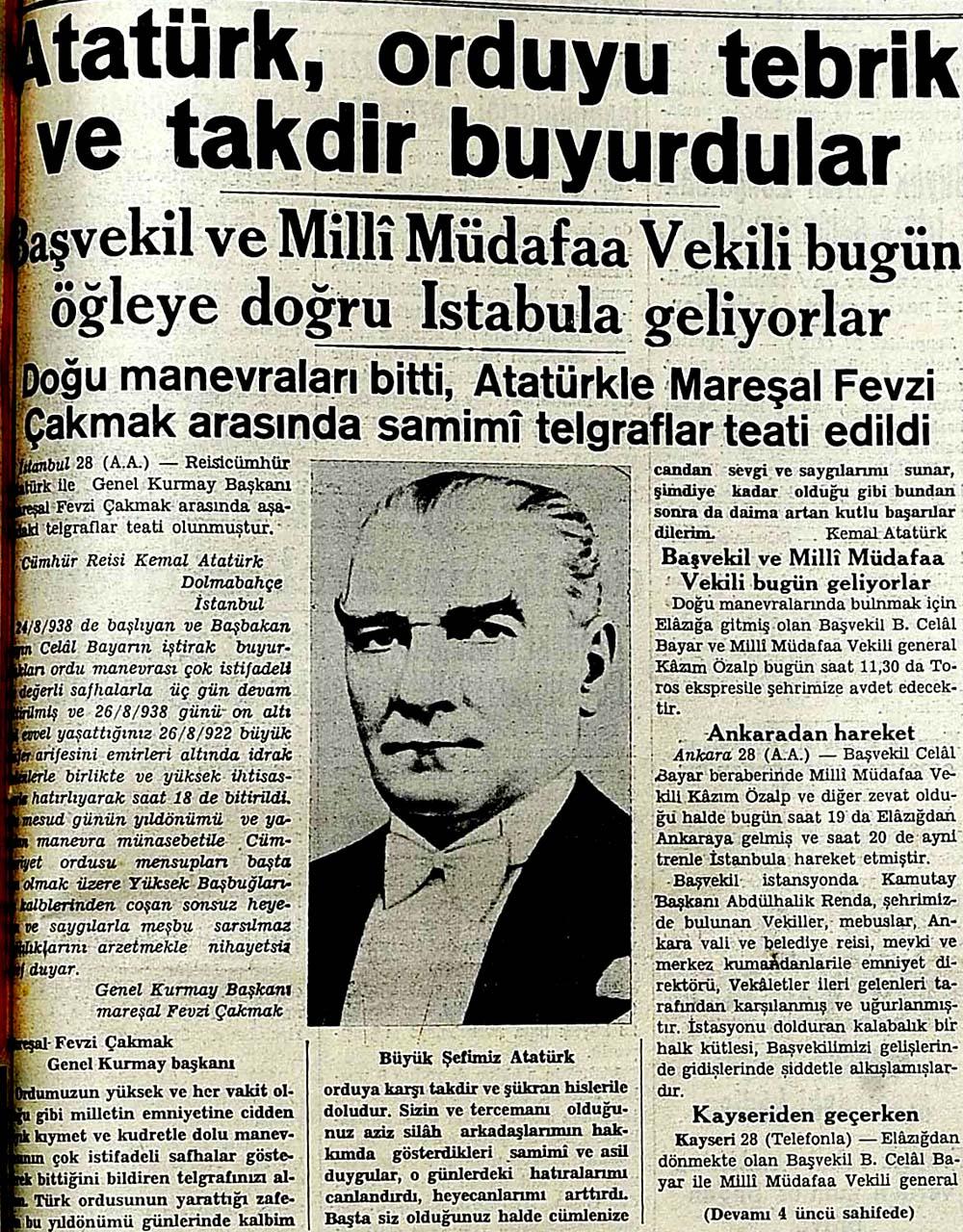 Atatürk, orduyu tebrik ve takdir buyurdular