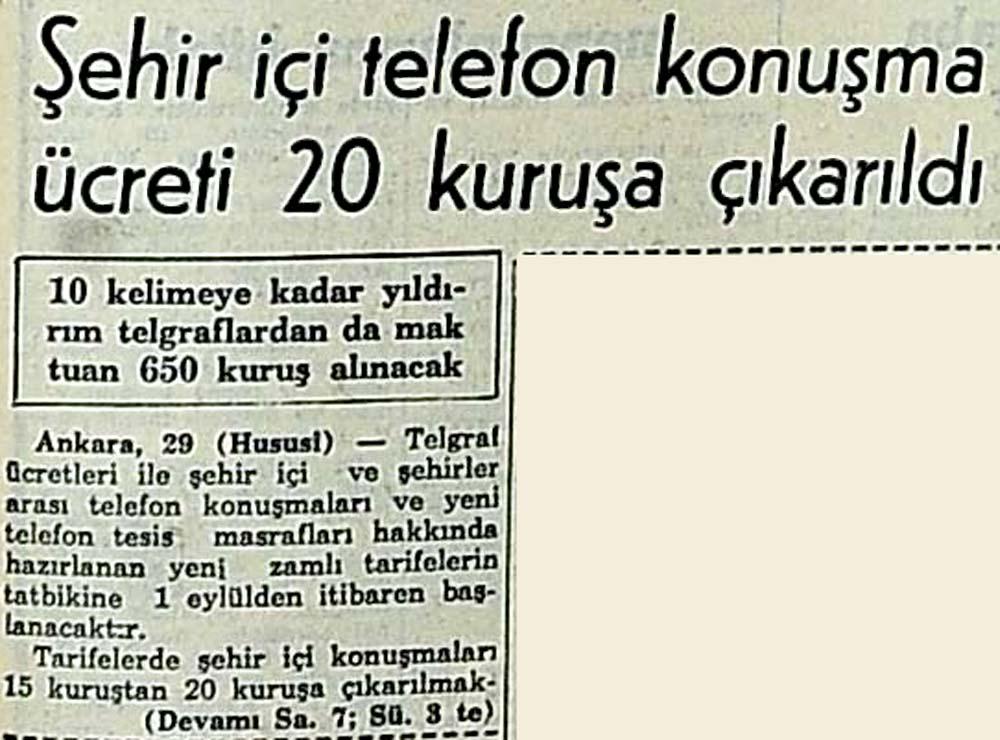 Şehir içi telefon konuşma ücreti 20 kuruşa çıkarıldı