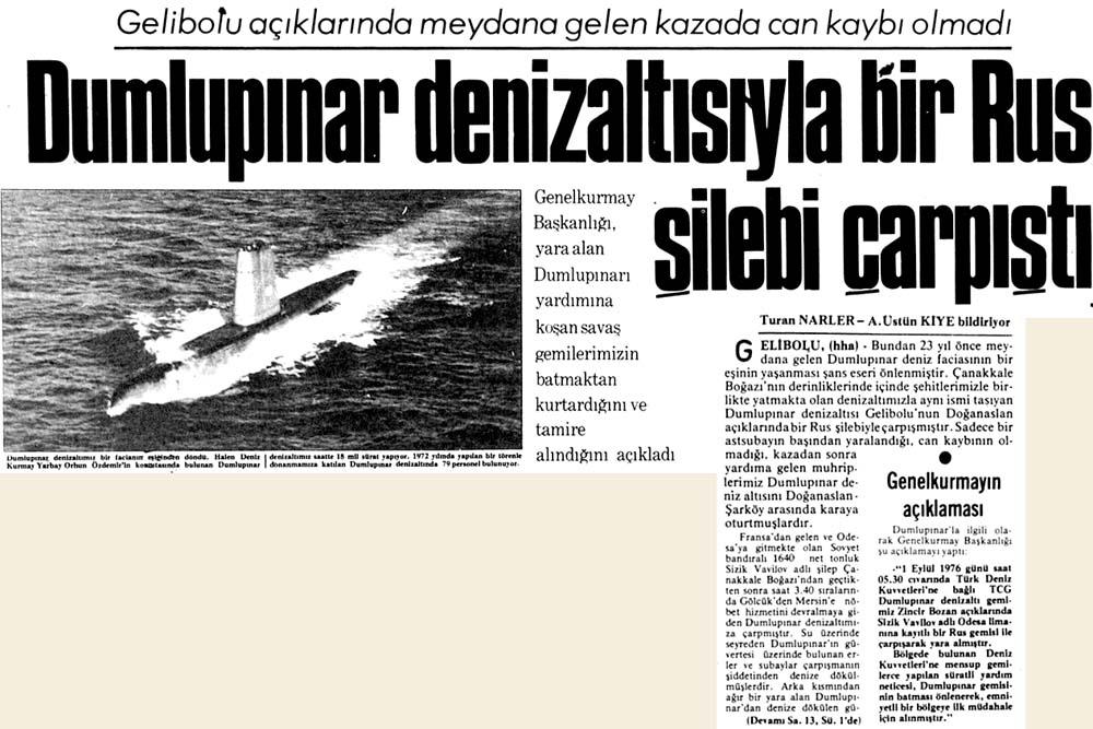 Dumlupınar denizaltısıyla bir Rus şilebi çarpıştı