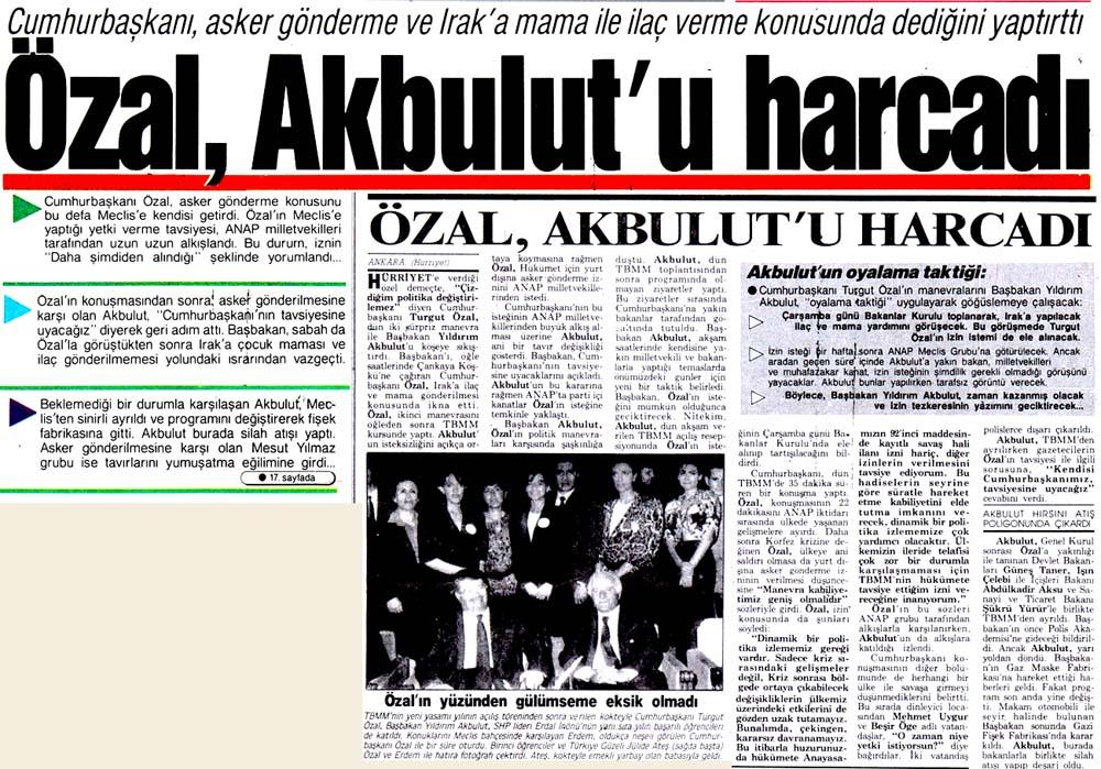 Özal, Akbulut'u harcadı