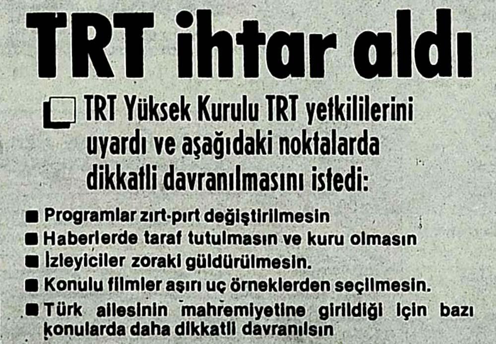 TRT ihtar aldı