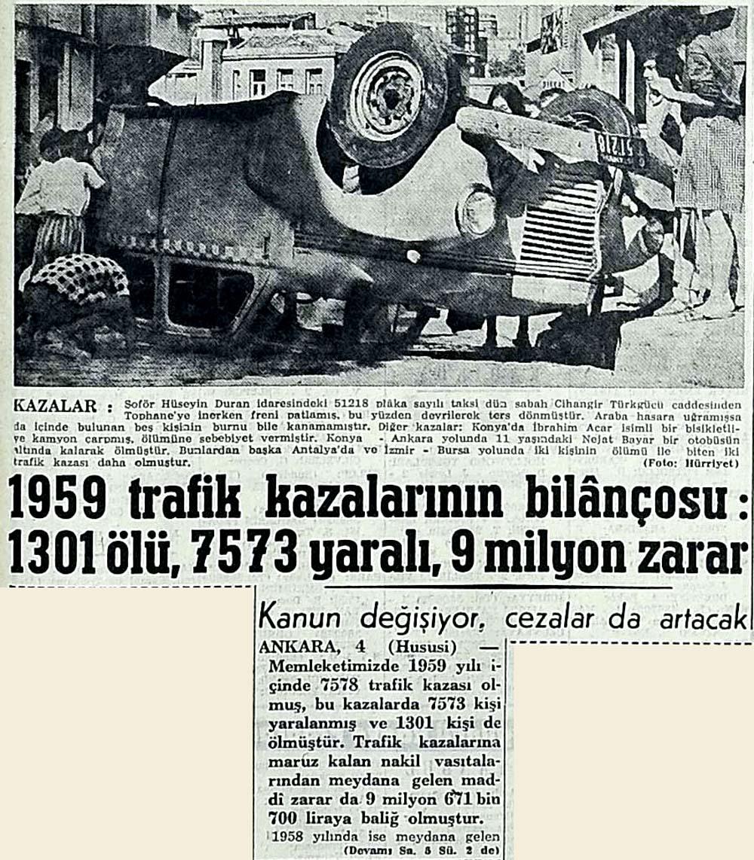 1959 trafik kazalarının bilançosu: 1301 ölü, 7573 yaralı, 9 milyon zarar