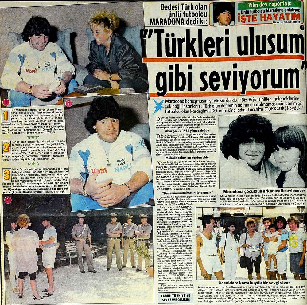 Ünlü futbolcu Maradona dedi ki: ''Türkleri ulusum gibi seviyorum''