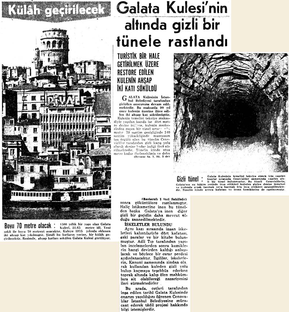 Galata Kulesi'nin altında gizli bir tünele rastlandı