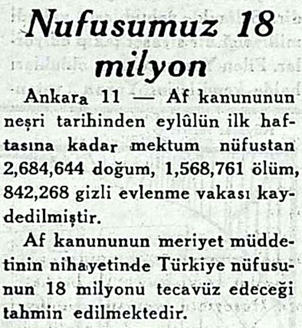 Nufusumuz 18 milyon
