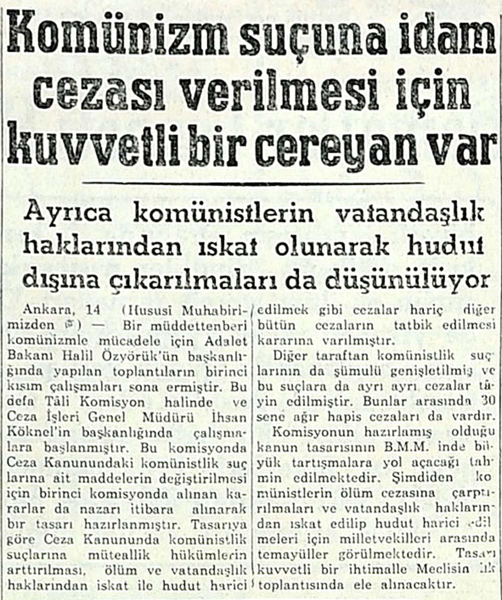 Komünizm suçuna idam cezası