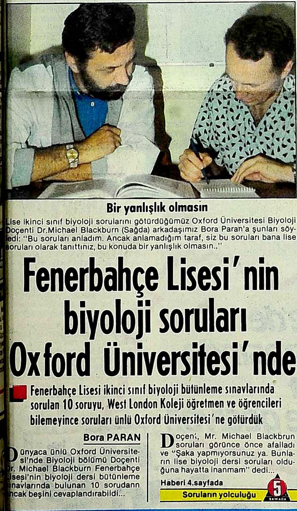 Fenerbahçe Lisesi'nin biyoloji soruları Oxford Üniversitesi'nde