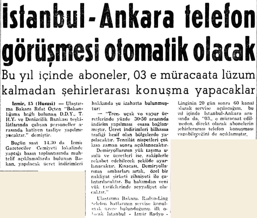 İstanbul-Ankara telefon görüşmesi otomatik olacak