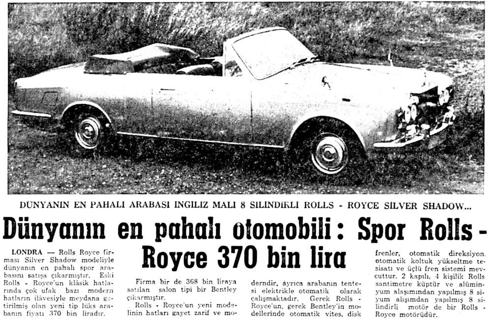 Spor Rolls-Roys 370 bin lira