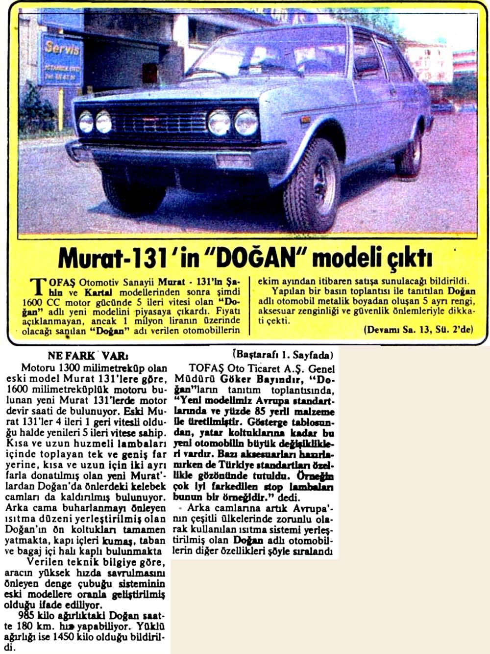 """Murat 131'in """"Doğan"""" modeli çıktı"""