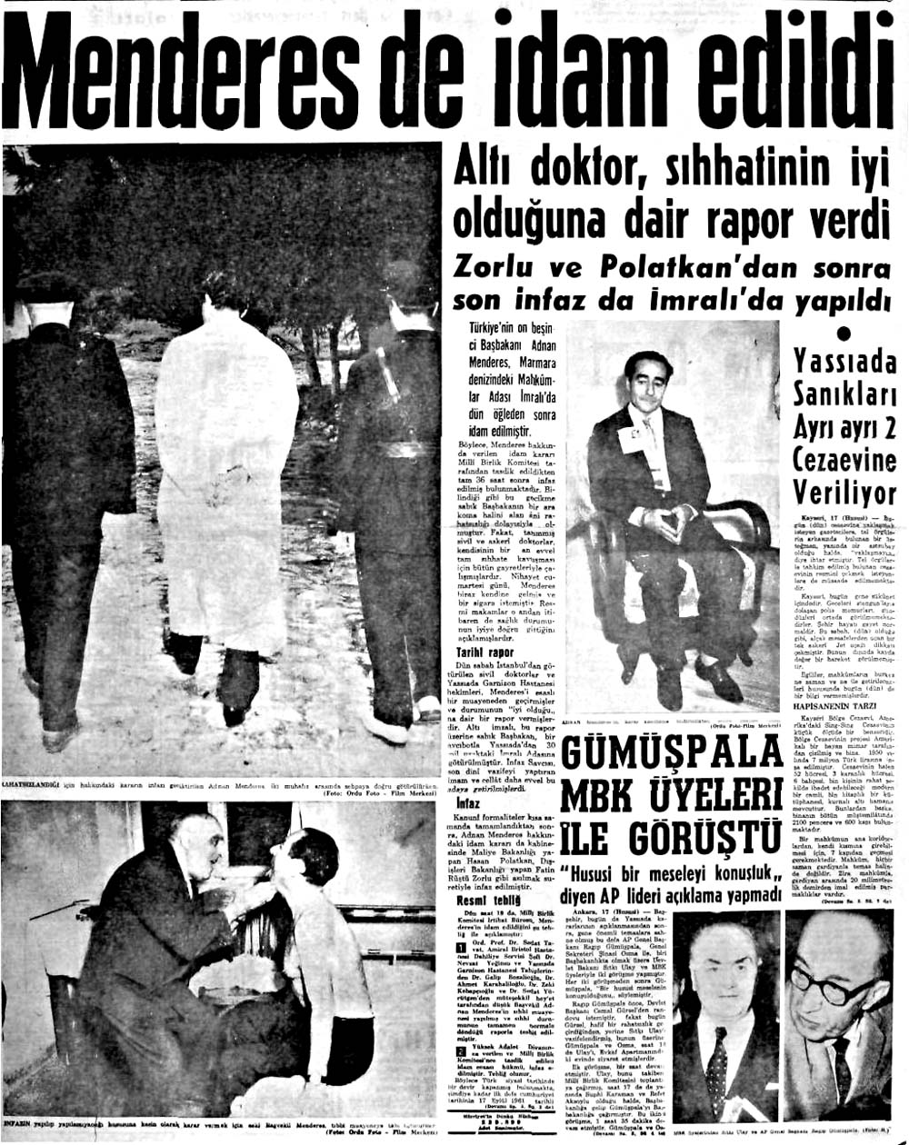 Menderes de idam edildi