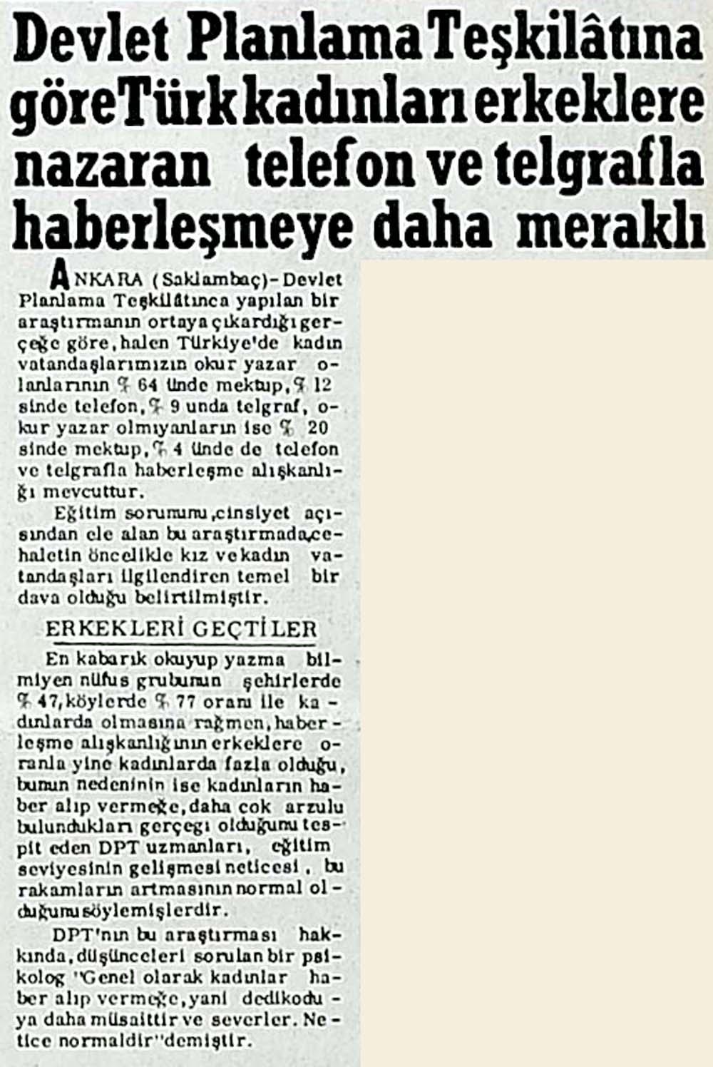 Türk kadınları telefon ve telgrafla haberleşmeye daha meraklı