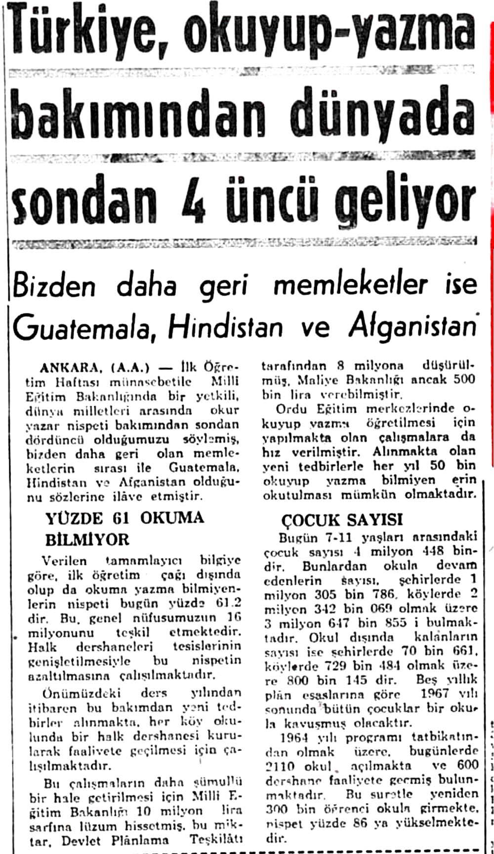 Türkiye, okuyup-yazma bakımından dünyada sondan 4 üncü