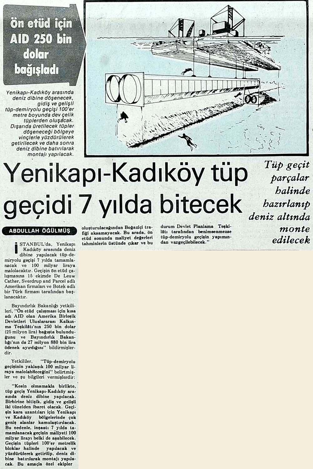 Yenikapı-Kadıköy tüp geçidi 7 yılda bitecek