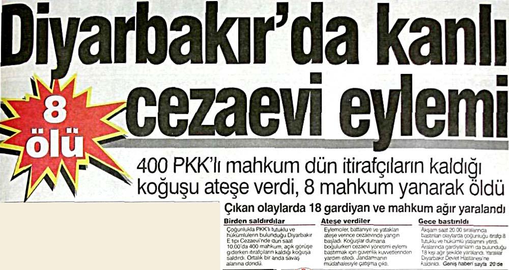 Diyarbakır'da kanlı cezaevi eylemi