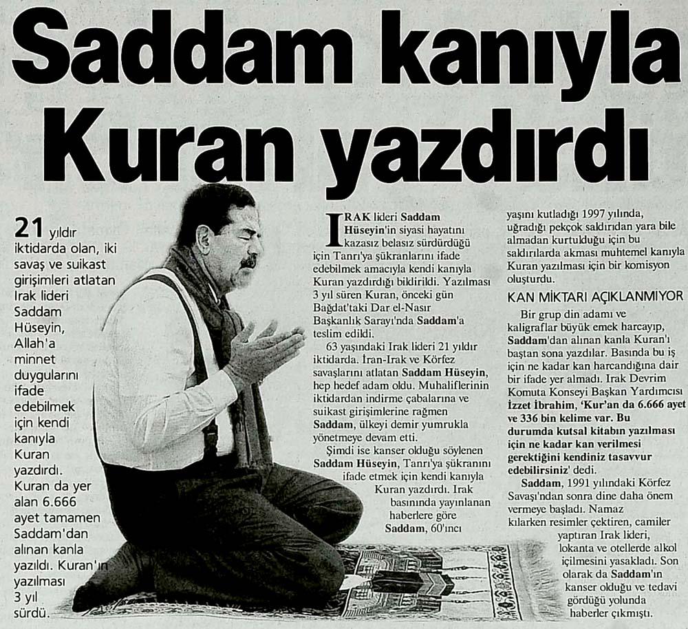 Saddam kanıyla Kuran yazdırdı