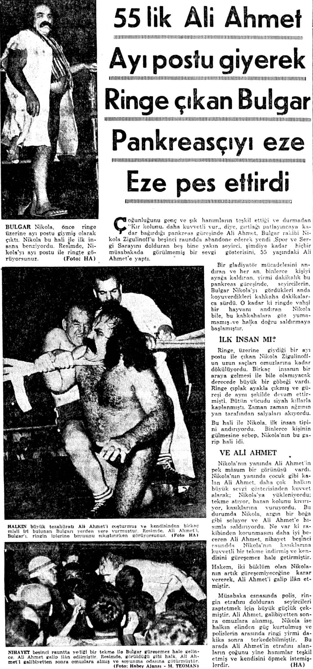 Ayı postu giyerek Ringe çıkan Bulgar Pankreasçıyı eze Eze pes ettirdi