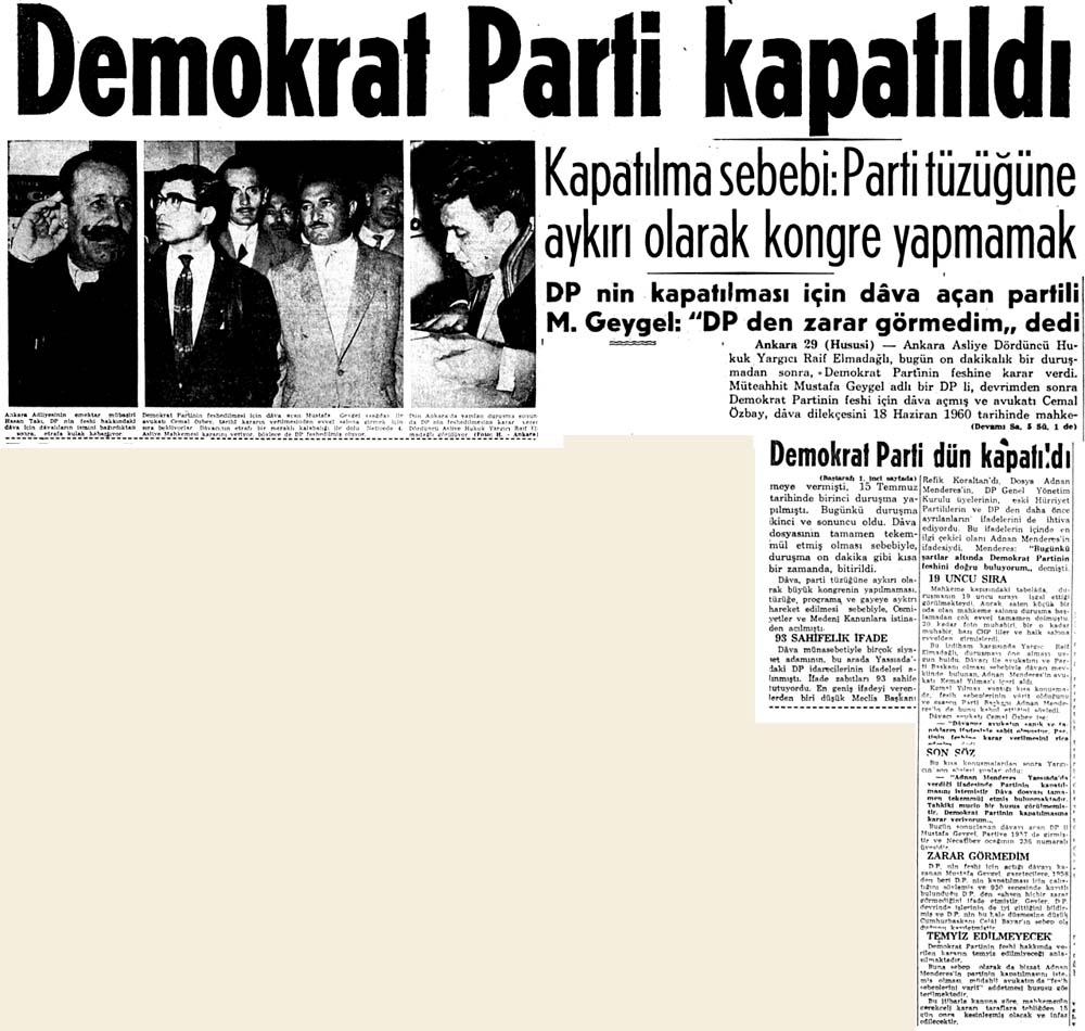 Demokrat Parti kapatıldı