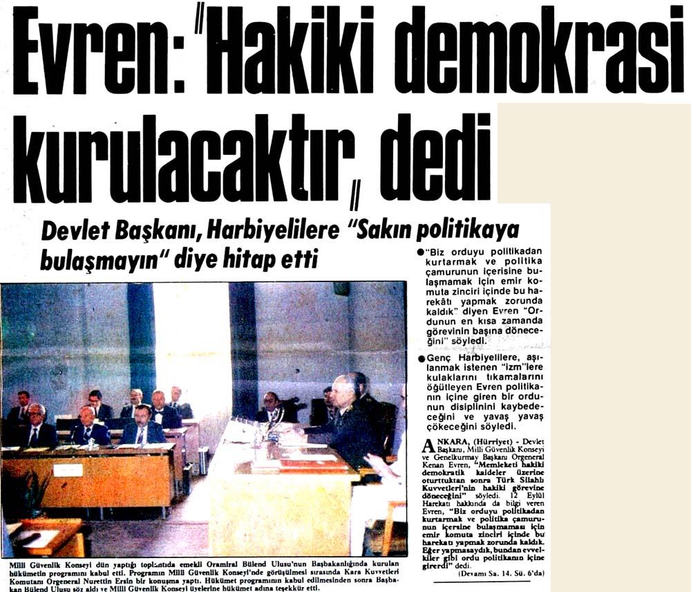 """Evren: """"Hakiki demokrasi kurulacaktır"""" dedi"""