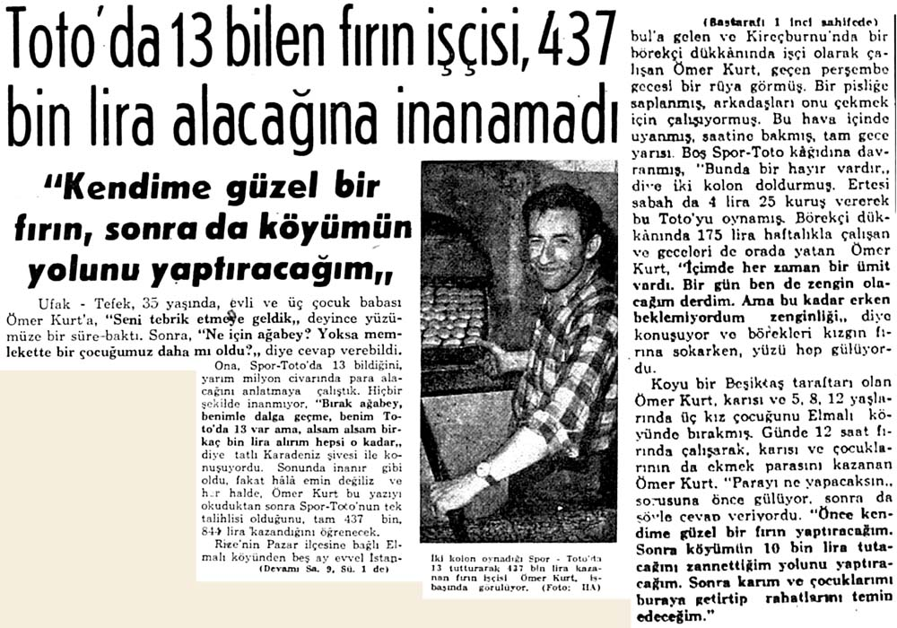 Toto'da 13 bilen fırın işçisi, 437 bin lira alacağına inanamadı