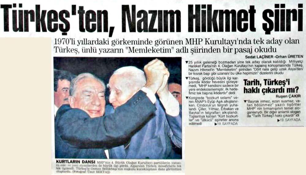Türkeş'ten, Nazım Hikmet şiiri