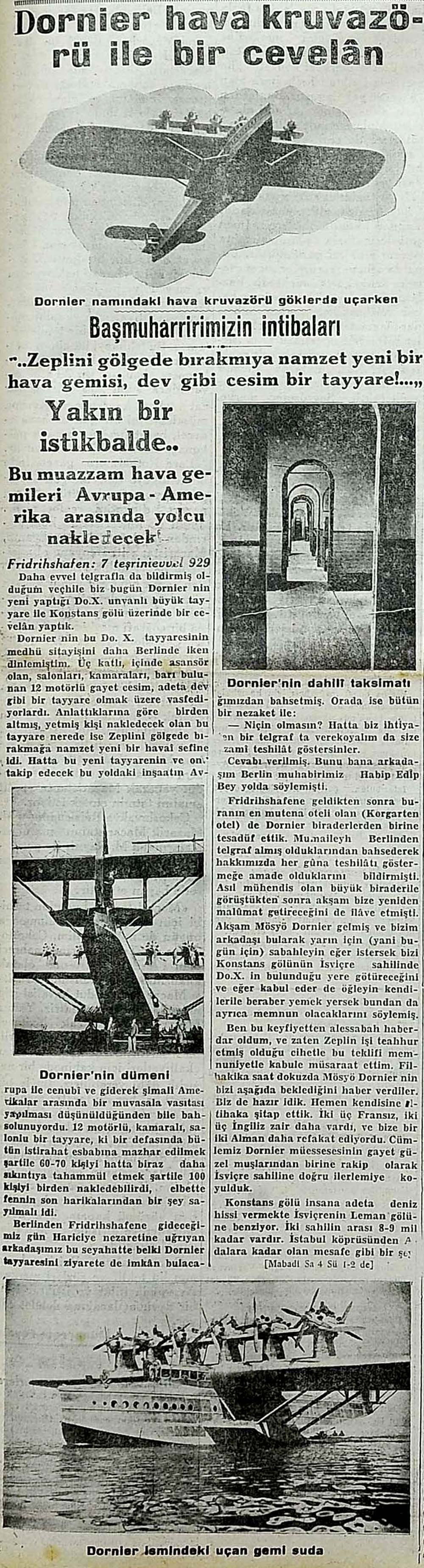 Dornier hava kruvazörü ile bir cevelan
