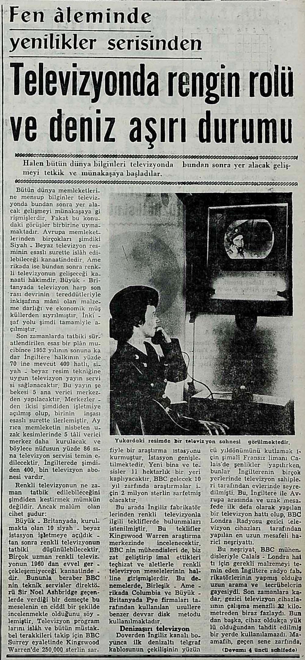Televizyonda rengin rolü ve deniz aşırı durumu