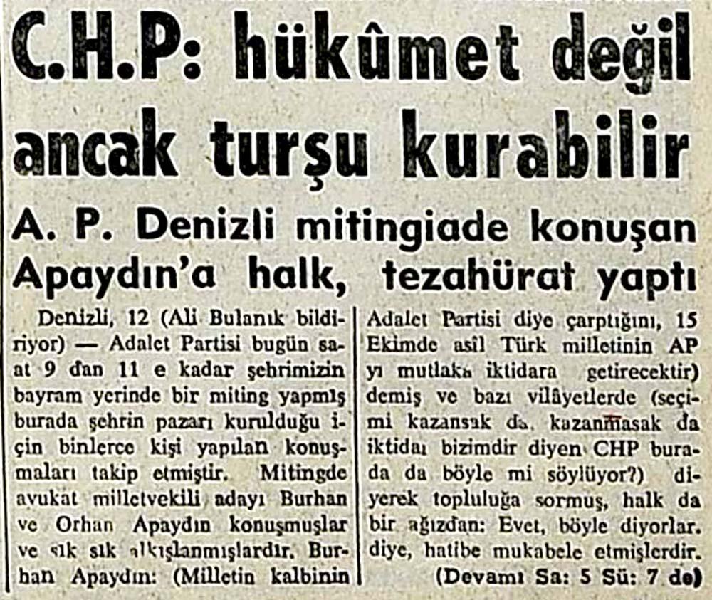 C.H.P: hükumet değil ancak turşu kurabilir