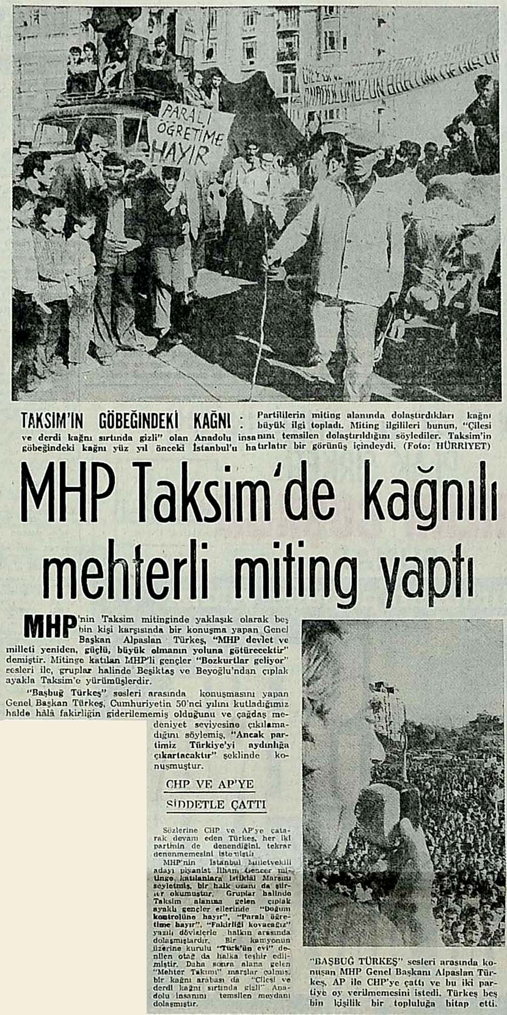 MHP Taksim'de kağnılı mehterli miting yaptı