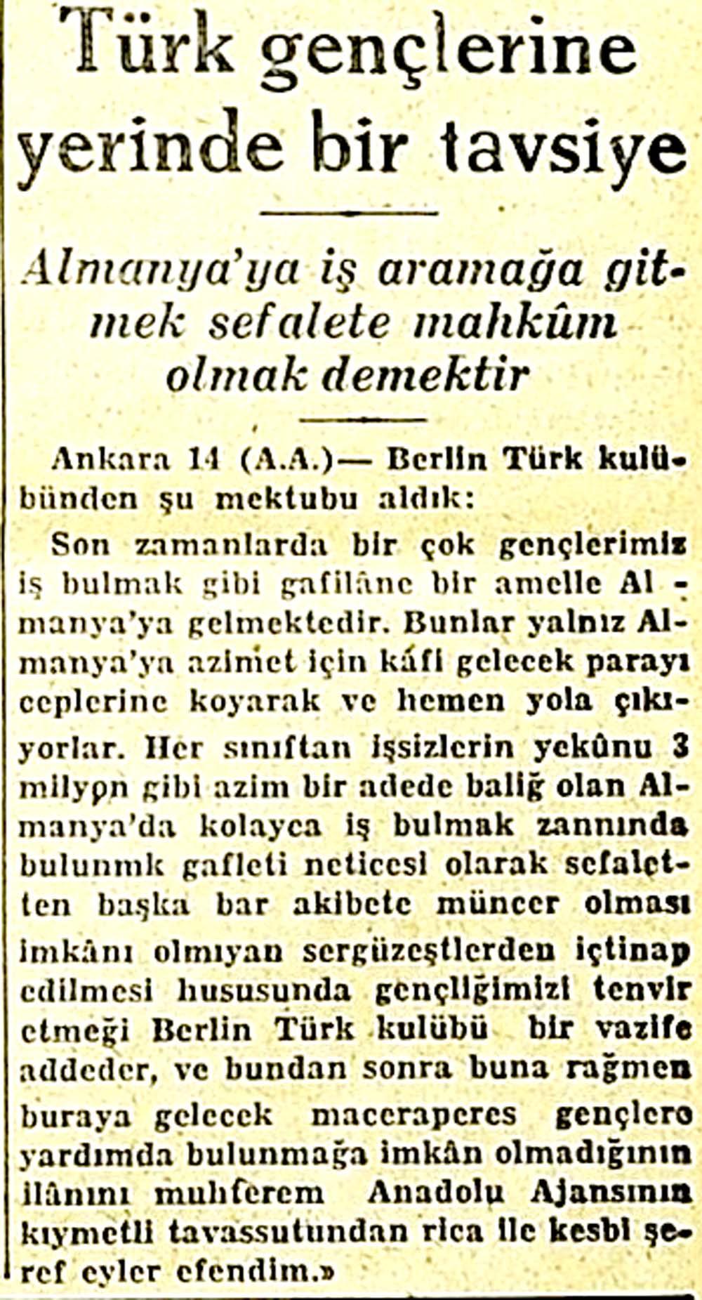 Türk gençlerine yerinde bir tavsiye