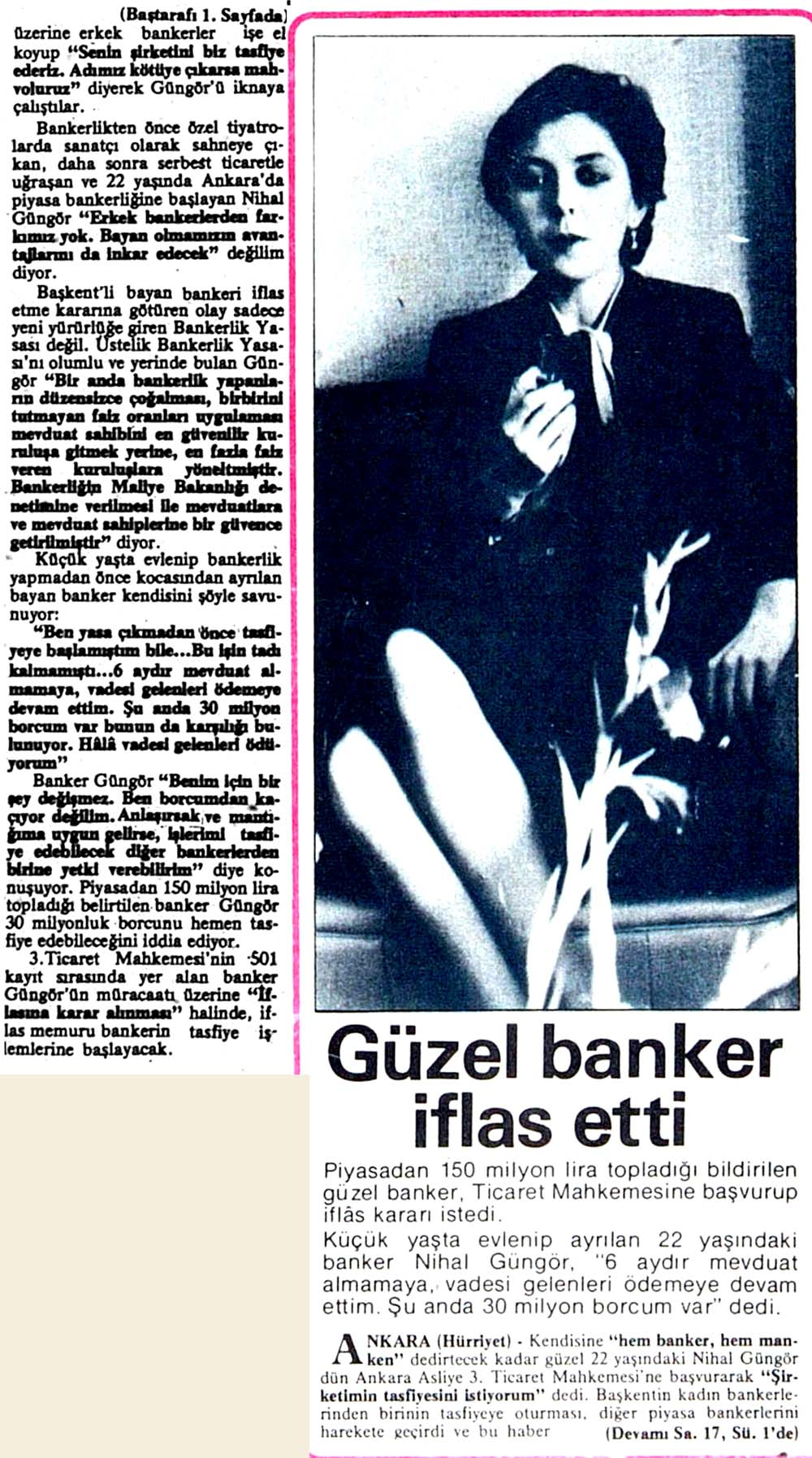 Güzel banker iflas etti