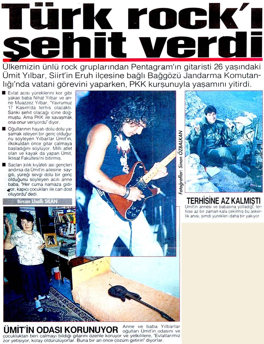 Türk rock'ı şehit verdi