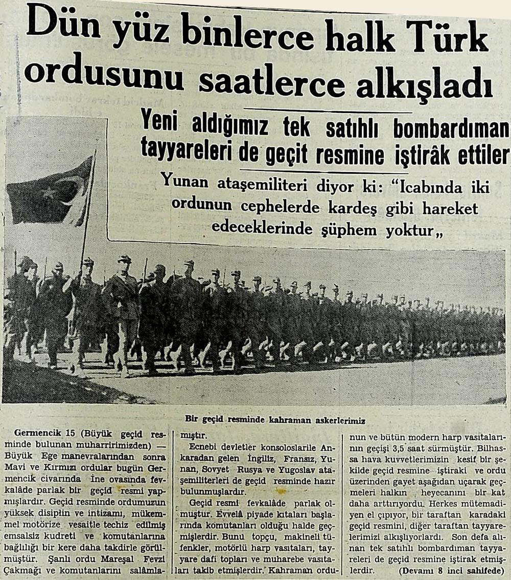 Dün yüz binlerce halk Türk ordusunu saatlerce alkışladı