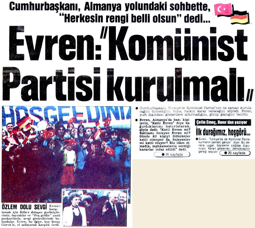 """Evren: """"Komünist Partisi kurulmalı"""""""