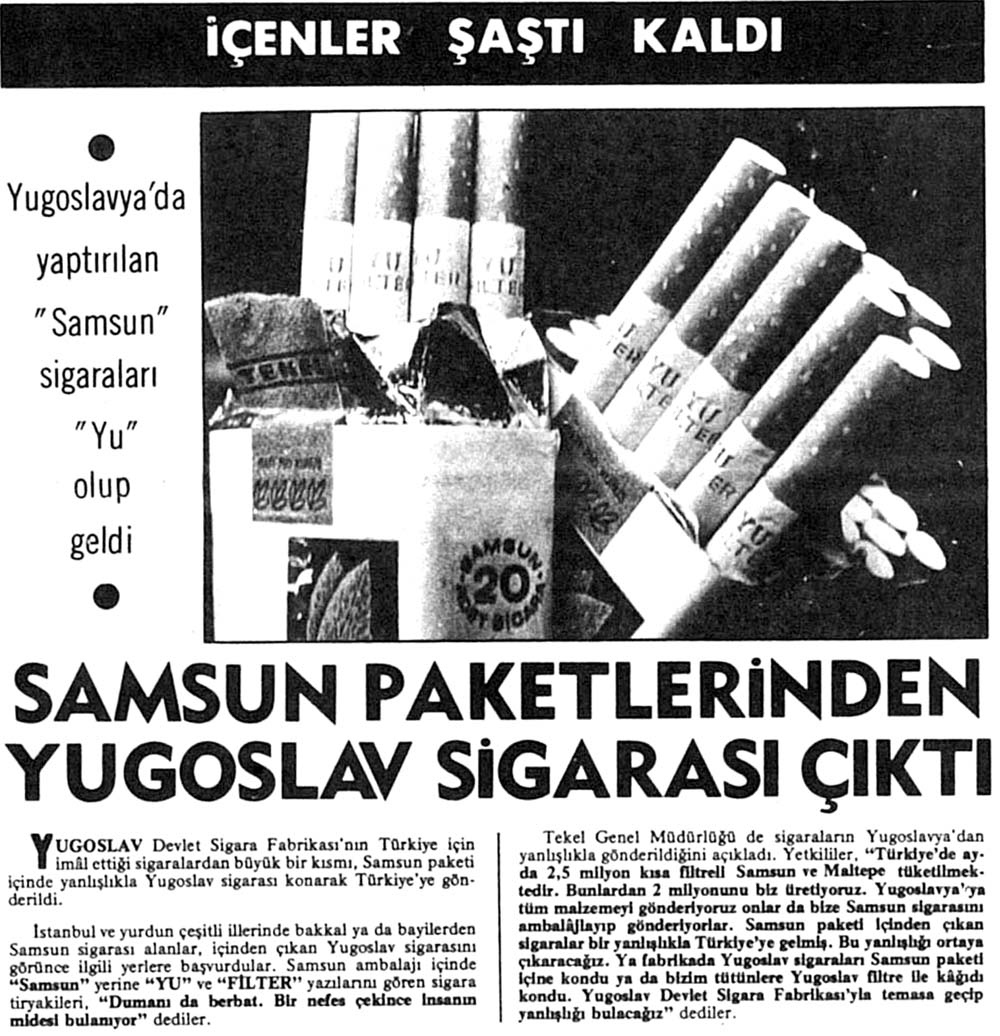 Samsun paketlerinden Yugoslav sigarası çıktı