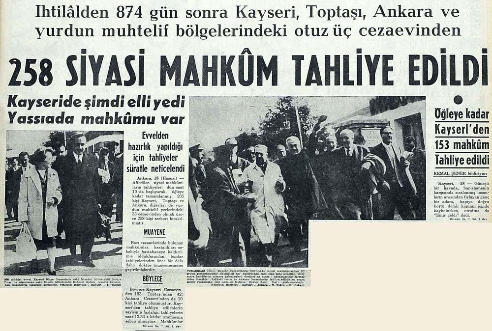 258 siyasi mahkum tahliye edildi