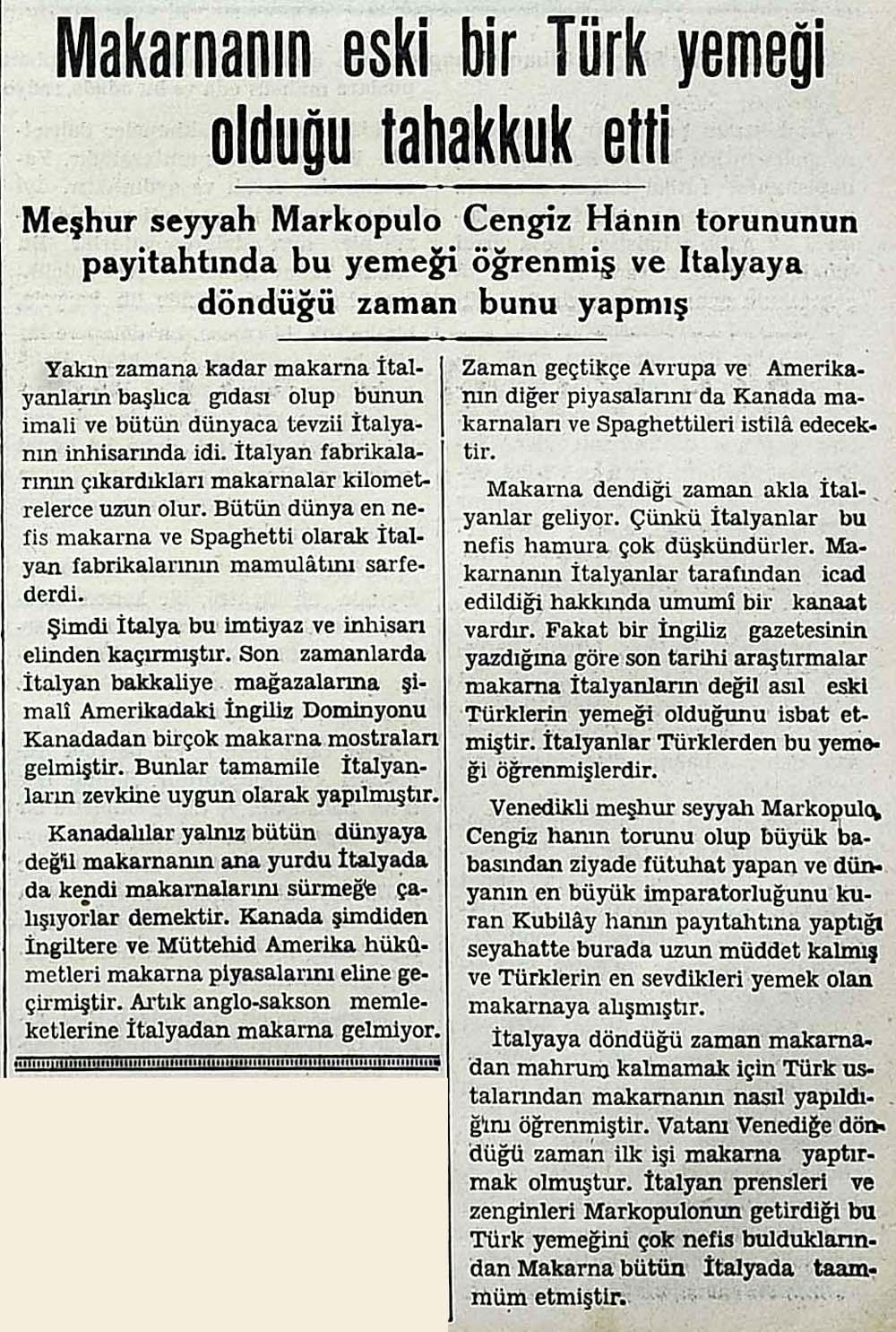 Makarnanın eski bir Türk yemeği olduğu tahakkuk etti