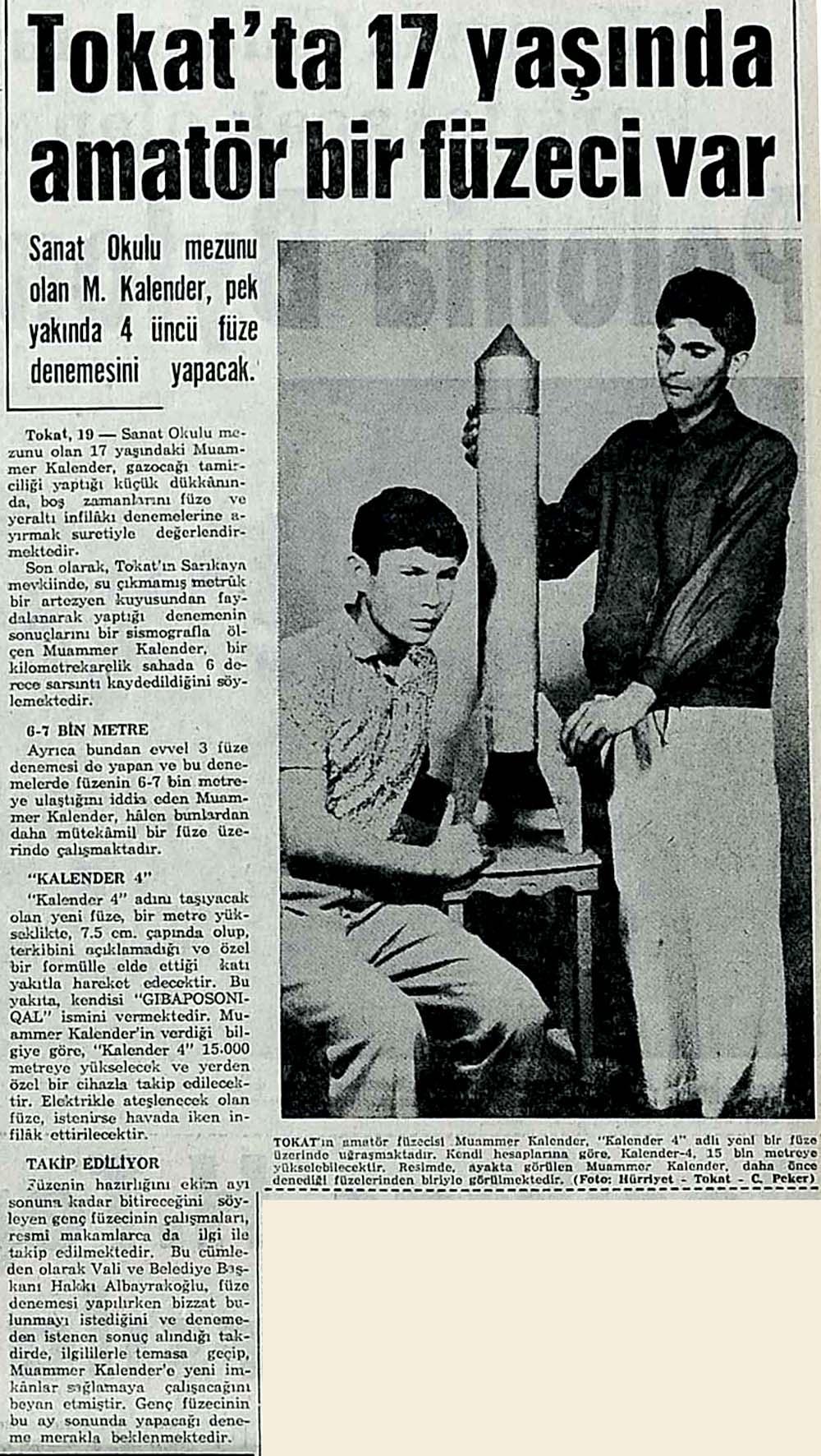 Tokat'ta 17 yaşında amatör bir füzeci var