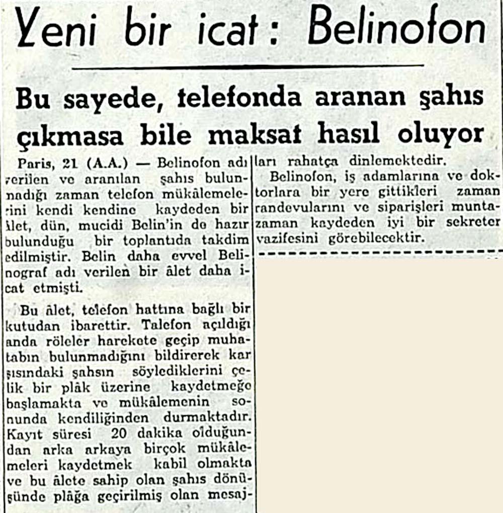 Yeni bir icat: Belinofon